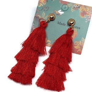 Liv Red 4-layer MINI tassel earrings